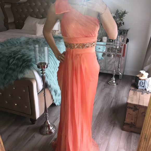 Dresses | Peach One Shoulder Evening Gown | Poshmark